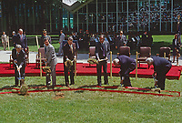 McLean, Virginia, USA, May 24, 1984<br /> President Ronald Reagan along with VP George H.W. Bush, and WIlliam Casey, Stansfield Turner, dig shovels full of dirt at the ground breakkng of the new George H.W. Bush CIA Building. Credit: Mark Reinstein/MediaPunch