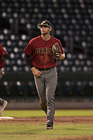 AZL Diamondbacks third baseman Joe Gillette (6) jogs off the field between innings of an Arizona League game against the AZL Cubs 1 at Sloan Park on June 18, 2018 in Mesa, Arizona. AZL Diamondbacks defeated AZL Cubs 1 7-0. (Zachary Lucy/Four Seam Images)