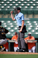 Home plate umpire Ben Engstrang during a Florida Instructional League game against the Baltimore Orioles on September 22, 2018 at Ed Smith Stadium in Sarasota, Florida.  (Mike Janes/Four Seam Images)