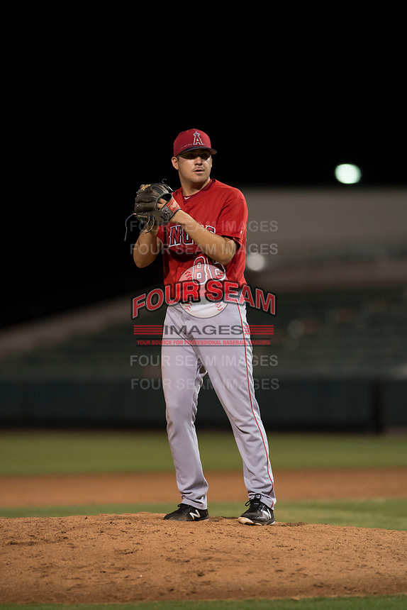 AZL Angels relief pitcher Tanner Chock (86) prepares to deliver a pitch during an Arizona League game against the AZL Indians 2 at Tempe Diablo Stadium on June 30, 2018 in Tempe, Arizona. The AZL Indians 2 defeated the AZL Angels by a score of 13-8. (Zachary Lucy/Four Seam Images)