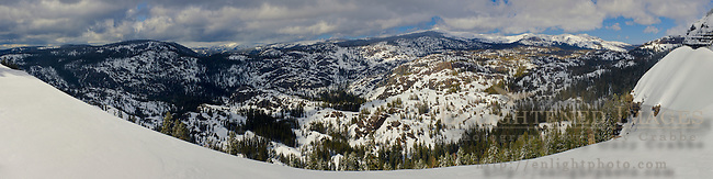Looking out over the Sierra Nevada mountains in winter, El Dorado National Forest, near Kirkwood, California