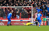 10th February 2018, Bramall Lane, Sheffield, England; EFL Championship football, Sheffield United versus Leeds United; Pierre-Michel Lasogga of Leeds United shoots to score the equalising goal in the 46th minute making it 1-1