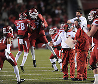 NWA Media/ANDY SHUPE - Arkansas players celebrate against LSU during the third quarter Saturday, Nov. 15, 2014, at Razorback Stadium in Fayetteville.