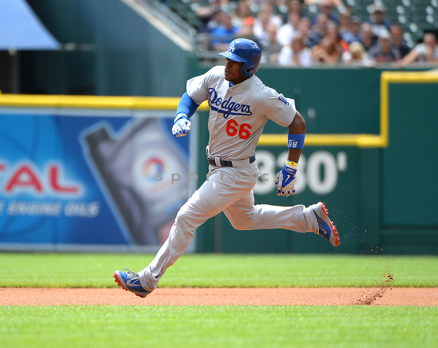 Los Angeles Dodgers Yasiel Puig (66) during a game against the Detroit Tigers at Comerica Park on July 8, 2014 in Detroit, MI. The Tigers beat the Dodgers14-5.