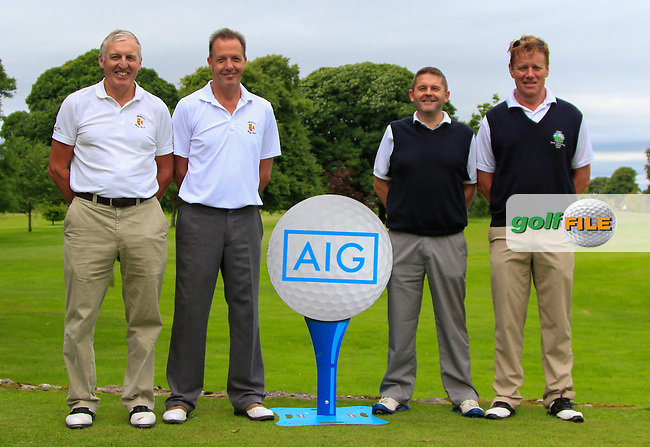 Eamonn McManus &amp; Andy Barker (Athlone) and David O'Dell &amp; Gerry Broderick (Gort) at the 1st tee during the AIG Connacht Pierce Purcell Shield Semi-Finals of the AIG Connacht Cups &amp; Shields Finals 2016 at Ballinrobe Golf Club, Ballinrobe Co. Mayo on Saturday 6th August 2016.<br /> Picture:  Golffile | Thos Caffrey<br /> <br /> All photos usage must carry mandatory copyright credit   (&copy; Golffile | Thos Caffrey)