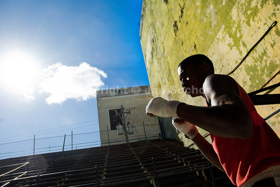 A Cuban boxer trains at Rafael Trejo boxing gym in the Old Havana, Cuba, 5 February 2009. About 50 years after the national rebellion, led by Fidel Castro, and adopting the communist ideology shortly after the victory, the Caribbean island of Cuba is the only country in Americas having the communist political system. Although the Cuban state-controlled economy has never been developed enough to allow Cubans living in social conditions similar to the US or to Europe, mostly middle-age and older Cubans still support the Castro Brothers' regime and the idea of the Cuban Revolution. Since the 1990s Cuba struggles with chronic economic crisis and mainly young Cubans call for the economic changes.