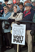 Pensioners demonstrate against the Council Tax in Trafalgar Square, London, in a protest organised by the Isitfair? Campaign.