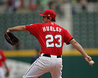 Frisco Rough Riders Pitcher Eric Hurley during the 2007 AA Texas League Season. Photo by Andrew Woolley / Four Seam Images..