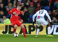 (L-R) Ben Woodburn of Wales amd Leslie Heraldez of Panama during the international friendly soccer match between Wales and Panama at Cardiff City Stadium, Cardiff, Wales, UK. Tuesday 14 November 2017.