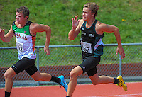 Bailey Cotton (left) and Harry Symes compete in the youth men's 200m final on day three of the 2015 National Track and Field Championships at Newtown Park, Wellington, New Zealand on Sunday, 8 March 2015. Photo: Dave Lintott / lintottphoto.co.nz