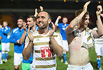 St Johnstone v FC Luzern...24.07.14  Europa League 2nd Round Qualifier<br /> Lee Croft celebrates at full time with Liam Caddis<br /> Picture by Graeme Hart.<br /> Copyright Perthshire Picture Agency<br /> Tel: 01738 623350  Mobile: 07990 594431