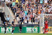 Gabriel Gomez (6) of the Philadelphia Union celebrates scoring. The Philadelphia Union defeated Toronto FC 3-0 during a Major League Soccer (MLS) match at PPL Park in Chester, PA, on July 8, 2012.