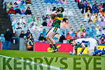 Donal O'Sullivan Kerry in action against  Cavan in the All Ireland Minor Semi Final in Croke Park on Sunday.