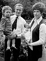 Mike Gibson, Irish, International, rugby player, with wife, Moyra Gibson, baby daughter, Jan, 2 year old son, Colin, at their home, Belfast, N Ireland. Photo taken just before Mike Gibson left on British &amp; Irish Lions Tour of South Africa. 351/74, 197406200351c.<br />