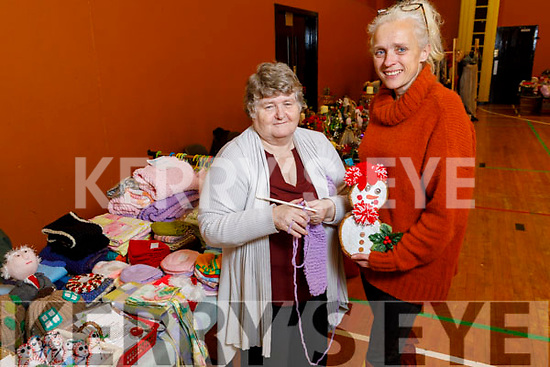 Marie Rigney displaying her knitted products to Sally Sheridan at the Arty Bits Craft Fare in KDYS on Saturday.