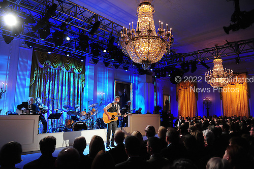 "Dierks Bentley performs during a ""celebration of country music"" concert at the White House in Washington on November 21, 2011. A series of country music legends and contemporary artist performed for the President and invited guests. .Credit: Kevin Dietsch / Pool via CNP"