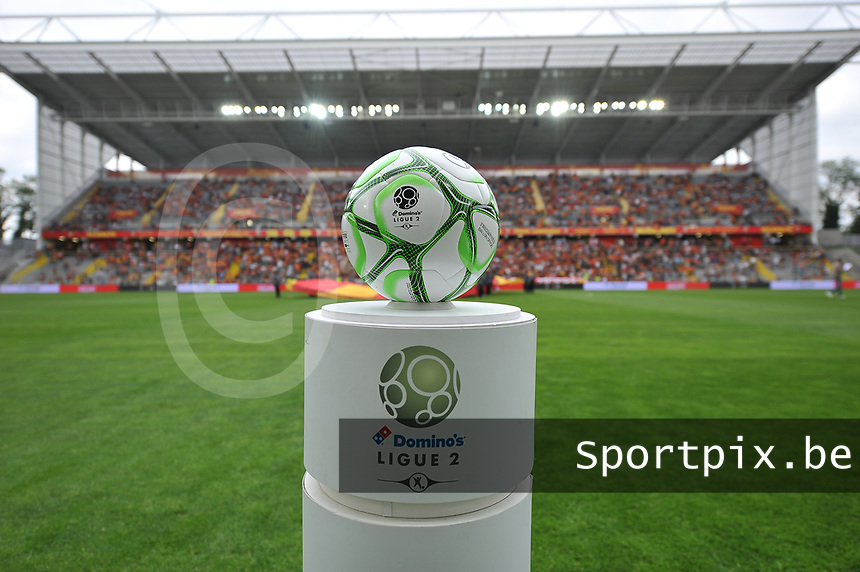 20190803 - LENS , FRANCE : illustration shows the official Ligue 2 matchball pictured during the soccer match between Racing Club de LENS and En Avant Guingamp , on the second matchday in the French Dominos pizza Ligue 2 at the Stade Bollaert Delelis stadium , Lens . Saturday 3 th August 2019 . PHOTO DIRK VUYLSTEKE | SPORTPIX.BE