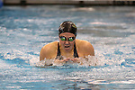 18 February 2016: Notre Dame's Katie Miller competes in the Women's 200 Individual Medley preliminary Heat 7. The 2016 Atlantic Coast Conference Swimming and Diving Championships were held at the Greensboro Aquatic Center in Greensboro, North Carolina from February 17-27, 2016.