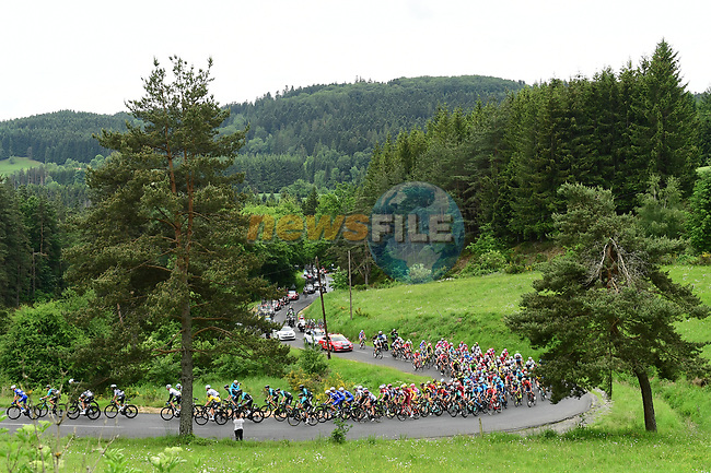 The peleton in action during Stage 1 of the 2018 Criterium du Dauphine 2018 running 179km from Valence to Saint-Just-Saint-Rambert, France. 4th June 2018.<br /> Picture: ASO/Alex Broadway | Cyclefile<br /> <br /> <br /> All photos usage must carry mandatory copyright credit (© Cyclefile | ASO/Alex Broadway)