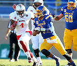 SIOUX FALLS, SD - NOVEMBER 7:  Taryn Christion #1 from South Dakota State University runs past David Perkins #4 from Illinois State in the first half Saturday in the final game at Coughlin Alumni Stadium in Brookings. (Photo by Dave Eggen/Inertia)