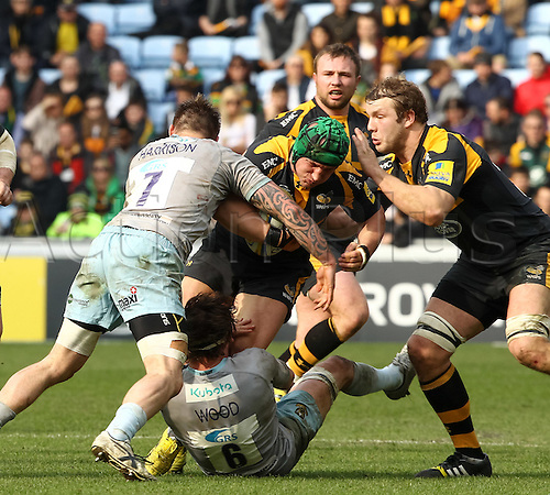 03.04.2016. Ricoh Arena, Coventry, England. Rugby Aviva Premiership. Wasps versus Northampton Saints. Wasps hooker Carlo Festuccia on the charge.