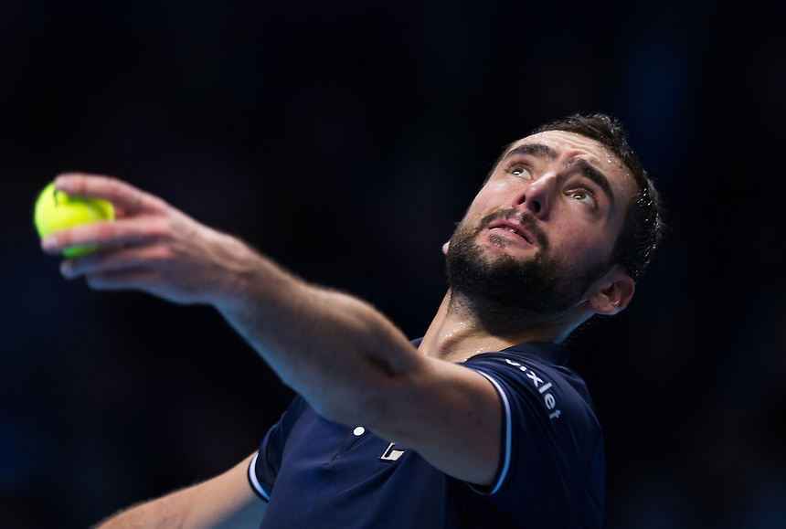 Marin Cilic of Croatia in action against Stan Wawrinka of Switzerland in their Group John McEnroe match today<br /> <br /> Photographer Ashley Western/CameraSport<br /> <br /> International Tennis - Barclays ATP World Tour Finals - Day 4 - Wednesday 16th November 2016 - O2 Arena - London<br /> <br /> World Copyright &copy; 2016 CameraSport. All rights reserved. 43 Linden Ave. Countesthorpe. Leicester. England. LE8 5PG - Tel: +44 (0) 116 277 4147 - admin@camerasport.com - www.camerasport.com