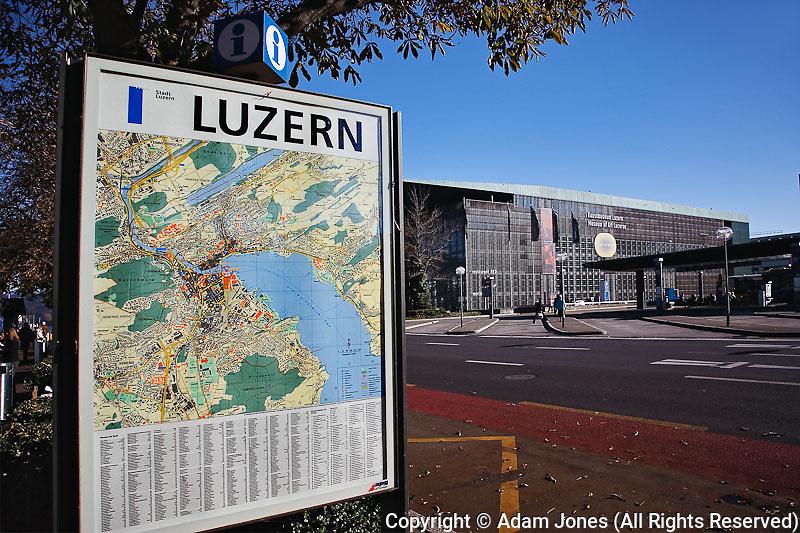 Map of Luzern or Lucerne, Switzerland