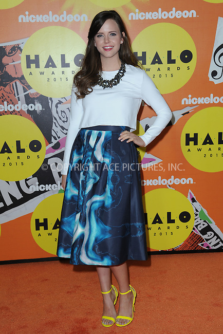 WWW.ACEPIXS.COM<br /> November 14, 2015 New York City<br /> <br /> Tiffany Alvord attending the 2015 Nickelodeon HALO Awards at Pier 36 on November 14, 2015 in New York City.<br /> <br /> Credit: Kristin Callahan/ACE<br /> Tel: (646) 769 0430<br /> e-mail: info@acepixs.com<br /> web: http://www.acepixs.com