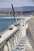 NWA Democrat-Gazette/FLIP PUTTHOFF<br /> MAINTENANCE MAKING PROGRESS<br /> Work on the headgates at Beaver Dam continues Tuesday March 20 2018 and Arkansas 187 across the dam remains closed. The highway is expected to reopen on Tuesday, according to the Army Corps of Engineers. The date is subject to change.