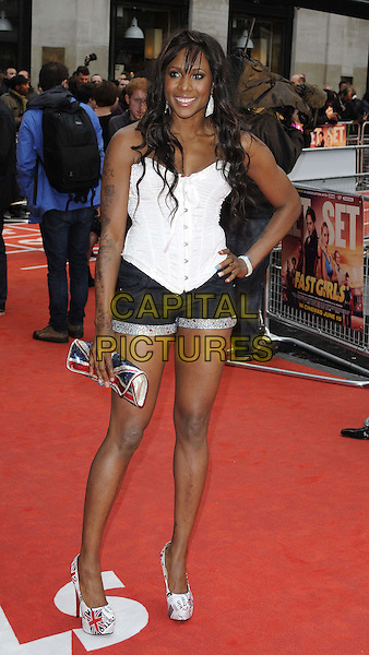 Tasha Danvers.The 'Fast Girls' UK film premiere, Odeon West End cinema, Leicester Square, London, England..June 7th, 2012.full length white corset top shorts jeans denim tattoos hand on hip union jack clutch bag  .CAP/CAN.©Can Nguyen/Capital Pictures.