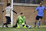 Dylan Castanheira (30) of the Columbia Lions can only watch as Alex Bangerl (4) of the Columbia Lions clears the ball away from Luis Argudo (2) of the Wake Forest Demon Deacons during second half action in the second round of the 2017 NCAA Men's Soccer Championship at Spry Soccer Stadium on November 19, 2017 in Winston-Salem, North Carolina.  The Demon Deacons defeated the Lions 1-0.  (Brian Westerholt/Sports On Film)