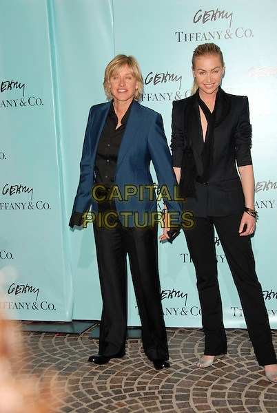 ELLEN DEGENERES & PORTIA DE ROSSI.Attend Tiffany & Co. celebration for the launch of Frank Gehry?s premier collection held at Tiffany & Co. on Rodeo in Beverly Hills, California, USA, March 26, 2006..full length couple holding hands.Ref:DVS.www.capitalpictures.com.sales@capitalpictures.com.Supplied By Capital PIctures