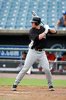 Zack Collins #23 of American Heritage High School in Plantation, Florida playing for the Colorado Rockies scout team during the East Coast Pro Showcase at Alliance Bank Stadium on August 1, 2012 in Syracuse, New York.  (Mike Janes/Four Seam Images)