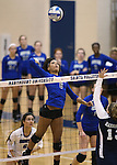 Marymount's Cailyn Thomas attacks the ball during a college volleyball match against PSU Harrisburg at Marymount University in Arlington, Vir., on Wednesday, Oct. 9, 2013.<br /> Photo by Cathleen Allison