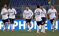 Calcio, Serie A: Roma vs Bologna. Roma, stadio Olimpico, 11 aprile 2016.<br /> Bologna&rsquo;s Luca Rossettini, second from right, celebrates with teammates after scoring during the Italian Serie A football match between Roma and Bologna at Rome's Olympic stadium, 11 April 2016.<br /> UPDATE IMAGES PRESS/Isabella Bonotto