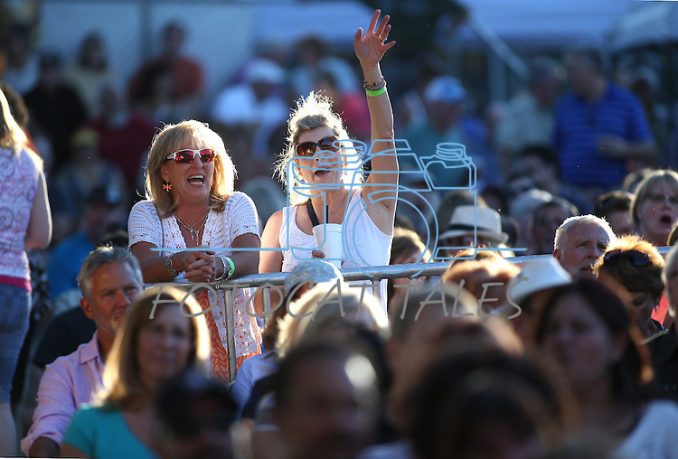 Michelle King and Paula Cobb enjoy the 8th Annual Concert Under the Stars in Carson City, Nev., on Thursday, July 14, 2016.<br />
