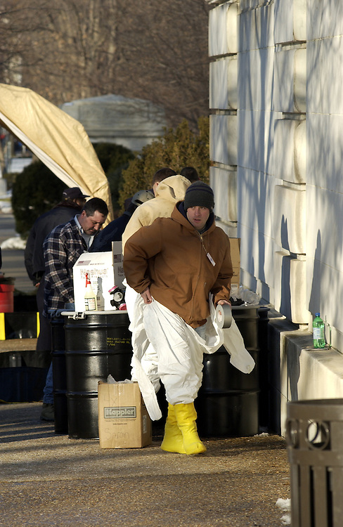 The Marine haz-mat team from Dover Delaware along with the Coast Guard and the U.S. Capitol Police prepare to enter the Russell Senate Office Building during the ricin scare.