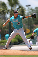 Coastal Carolina University Chanticleers pitcher Josh Conway #16 pitching during an NCAA Regional elimination game vs. the Stony Brook University Seawolves at BB&T Coastal Field in Myrtle Beach, South Carolina on June 6, 2010. Coastal Carolina defeated Stony Brook by the score of 25-7.  Photo By Robert Gurganus/Four Seam Images