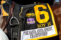 "ARCADIA, CA. OCTOBER 7: #6 Roy H's saddle towel before  the Santa Anita Sprint Championship (Grade l)""Win and You're In Sprint Division"" on October 7, 2017, at Santa Anita Park in Arcadia, CA. (Photo by Casey Phillips/Eclipse Sportswire/Getty Images) ARCADIA, CA. OCTOBER 7: Breeders' Cup ""Win and You're In"" saddle towel. (Photo by Casey Phillips/Eclipse Sportswire/Getty Images)"