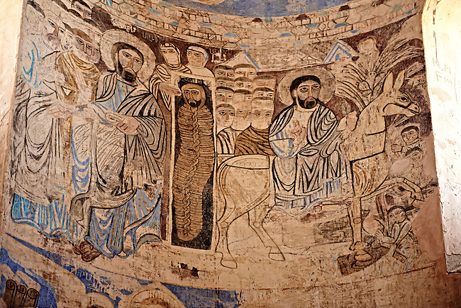 Interior with frescos of the 10th century Armenian Orthodox Cathedral of the Holy Cross on Akdamar Island, Lake Van Turkey