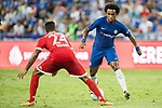 Chelsea Midfielder Willian da Silva (R) in action against Bayern Munich Midfielder Corentin Tolisso (L) during the International Champions Cup match between Chelsea FC and FC Bayern Munich at National Stadium on July 25, 2017 in Singapore. Photo by Weixiang Lim / Power Sport Images