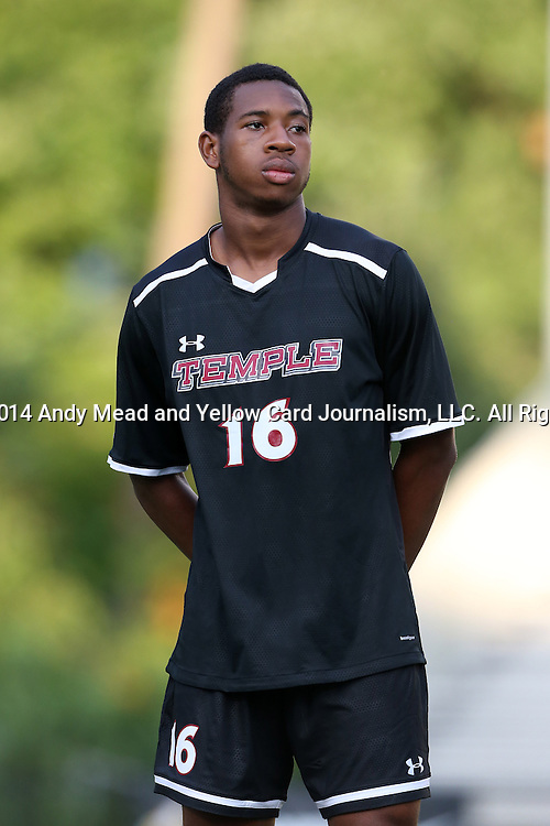 09 September 2014: Temple's Brendon Creed (TRI). The Duke University Blue Devils hosted the Temple University Owls at Koskinen Stadium in Durham, North Carolina in a 2014 NCAA Division I Men's Soccer match. Duke won the game 3-1.