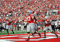 Ohio State Buckeyes defensive lineman Joey Bosa (97) reacts after causing a fumble that led to a safety during the first quarter of Saturday's NCAA Division I football game at Ohio Stadium in Columbus on September 27, 2014. (Columbus Dispatch photo by Jonathan Quilter)