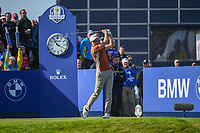 Henrik Stenson (Team Europe) watches his tee shot on 10 during Saturday's foursomes of the 2018 Ryder Cup, Le Golf National, Guyancourt, France. 9/29/2018.<br /> Picture: Golffile | Ken Murray<br /> <br /> <br /> All photo usage must carry mandatory copyright credit (© Golffile | Ken Murray)