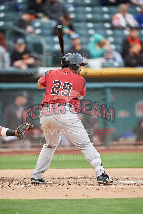 Hector Sanchez (29) of the Sacramento River Cats bats against the Salt Lake Bees at Smith's Ballpark on April 19, 2018 in Salt Lake City, Utah. Salt Lake defeated Sacramento 10-7. (Stephen Smith/Four Seam Images)