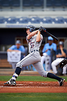 Lakeland Flying Tigers right fielder Ben Verlander (32) follows through on a swing during a game against the Charlotte Stone Crabs on April 16, 2017 at Charlotte Sports Park in Port Charlotte, Florida.  Lakeland defeated Charlotte 4-2.  (Mike Janes/Four Seam Images)