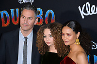 """LOS ANGELES, CA. March 11, 2019: Ol Parker, Nico Parker & Thandie Newton at the world premiere of """"Dumbo"""" at the El Capitan Theatre.<br /> Picture: Paul Smith/Featureflash"""