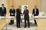 (L-R) Noriyuki Ichihara, Masato Mizuno, Tsunekazu Takeda,  Naoki Inose, Governor of Tokyo, Tomiaki Fukuda, DECEMBER 21, 2012 : New Governor of Tokyo, Naoki Inose was selected to become Chairman of the Tokyo 2020 Olympic bid during a directer's meeting at the Tokyo Metropolitan Government Buildings in Tokyo, Japan. (Photo by AFLO SPORT) [1156]