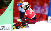18th March 2018, Winterberg, Germany;  Snowboard World Cup, team parallel slalom. Claudia Riegler of Austria on her way to 2nd placed finish