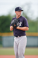 GCL Yankees East relief pitcher Keegan Curtis (7) gets ready to deliver a pitch during the second game of a doubleheader against the GCL Pirates on July 31, 2018 at Pirate City Complex in Bradenton, Florida.  GCL Pirates defeated GCL Yankees East 12-4.  (Mike Janes/Four Seam Images)
